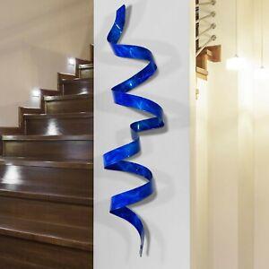 Modern Metal Wall Electric Blue Twist Sculpture Accent Decor Original Jon Allen