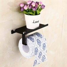 Black Steel Bathroom Paper Holder Toilet Tissue Roll Holder W/ Bath Shelf