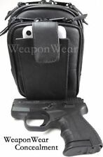 Gun Holster Pistol Pack Belt, Clip or Strap Black Leather # 18