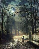 "Dream-art oil painting John Atkinson - Moonlit Landscape village in sunset 36"""
