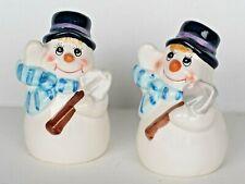 Ceramic Novelty Winter/Holiday SNOWMEN Salt & Pepper Shaker Set ~ NEW