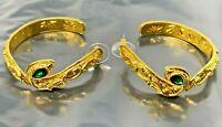 Vintage Rachel Zoe Snake Green Rhinestone Gold tone Pierced Earrings