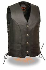 Mens Black Leather Vest with Buffalo Nickel Snaps & Gun Pocket Side Lace Size 50