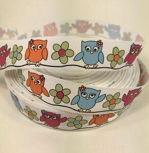 "BTY 7/8"" Colorful Owls Flowers Grosgrain Ribbon Hair Bows Lisa"