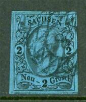 Germany 1855 Saxony 2ngr Black/Deep Blue VFU G258 ⭐⭐⭐⭐⭐