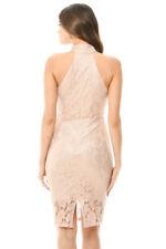 AX Paris Womens Mini Bodycon Dress Pink Choker Lace Sleeveless Party 12