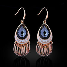STUNNING 18K GOLD PLATED SMOKEY GREY CUBIC ZIRCONIA DANGLE EARRINGS WITH RINGS