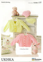 VAT Free Hand Knitting Pattern DK Baby Child Cardigans Hat Cardies UKHKA137 New