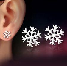 Damen 925 Silber Schneeflocke Blume Ohrstecker Ohrringe