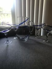 MEXICAN Hand Blown MARGARITA PITCHER & 4 GLASSES with BLUE SWIRL & HANDLE