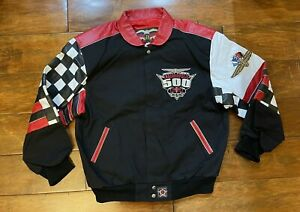 83rd 1999 Indianapolis 500 Racing Twill/Leather Race Jacket Mens Large NASCAR JH
