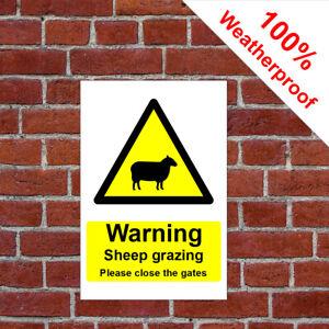 Warning sheep grazing Please close the gates weatherproof sign COUN0085