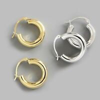 Fashion 925 Silver/Gold Simple C Earrings Hoop Stud Women Geometry Jewelry Gifts