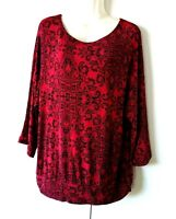 WOMEN'S CHICO'S TRAVELERS RED BLACK MEDALLION PRINT SLINKY STRETCHY TOP SIZE 2