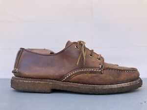 Vintage Red Wing Boots 9155 Boat Shoe Loafer Crepe Sole Lace Handsewn Mens 8.5 E