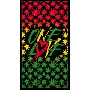 Oversized One Love Rasta New Bath Beach Pool Gift Towel Pot Leaf Weed Marijuana