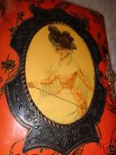 ANTIQUE VICTORIAN LADY PORTRAIT BLACK PLUMED HAT RED CELLULOID PHOTO ALBUM