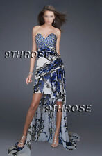 REVEAL BEAUTY SECRET! BLACK & BLUE BEADED HIGH-LOW HEM PROM/FORMAL GOWN AU10/US8