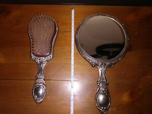 Vintage Brush and Hand Mirror Vanity Set Silver Plated (unmarked)