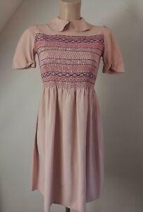 VINTAGE DUSKY PINK 1940s WWII LAND GIRL EMBROIDERED BUTTON BACK TEA DRESS