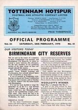 Teams A-B Birmingham City Reserves Football Programmes