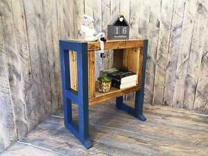 Wooden bedside table handmade vanity unit cabinet rustic style