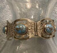 Beautiful Vintage Taxco Hecho Sterling Turquoise Hinge link Bracelet