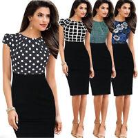 Sexy Womens Slim Fit Rockabilly Evening Office Wear to Work Bodycon Pencil Dress