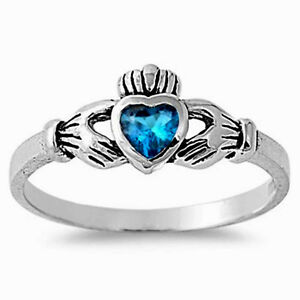 Claddagh Ring Sterling Silver 925 Jewelry Blue Topaz CZ Face Height 7 mm Size 3