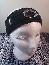 Ear Warmer Headband Sparkle Rhinstone Knit Black Winter HatMuff WomansGirlsBling