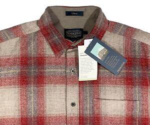 Men's PENDLETON Taupe Red + Plaid Wool Shirt XL X-Large NEW NWT LODGE UMATILLA
