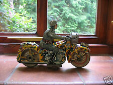 c.1937 KELLERMANN ARNOLD 754 clockwork military motorcycle Germany tinplate tin