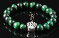 Tigerauge grün 8mm Armband Bracelet Perlenarmband silberfarbener Krone