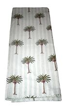 Indian Kantha Quilt King Cotton Bed Blanket Palm Tree Handmade Bedspread Throw
