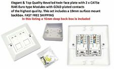CAT5e RJ45 Double Ethernet Network 2 Port Bevel Wall Face Plate & 19mm Back Box
