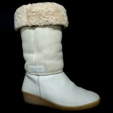 Tecnica Vintage White Leather Suede Shearling Lined Snow Ski Boot Wedge Womens 7