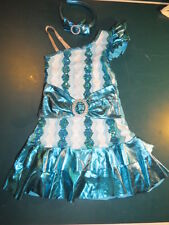 BLUE & WHITE JAZZ DANCE HALLOWEEN PLAY COSTUME W BUILT IN SHORTS CHILD S 6 7