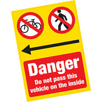 Danger Do Not Pass Vehicle on Inside Vinyl Warning Sticker HGV Lorry Cyclists