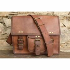 Mens Genuine Vintage Leather Messenger Man Business Sling Briefcase Satchel Bag
