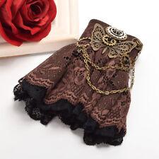Victorian Steampunk Brown Butterfly Lace Wrist Cuff Costume Bracelet Wristband