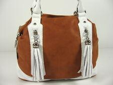 ECHT NAPPA LEDER Tasche ital. Damen Handtasche Cognac Weiß NL959CW