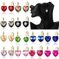 Elegant Lady Women Zircon Heart Crystal Ear Stud Hoop Drop Earrings Jewelry Gift