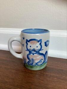 "M.A. Hadley Pottery, 8oz MUG with Cat and custom ""White Lace Inn"" printed on mug"