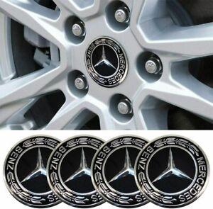 4PCS 75mm Wheel Center Caps Emblem Logo Hub Caps Black For Mercedes Benz AMG SL