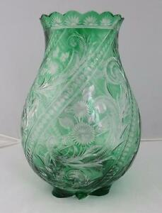 Stevens & Williams Emerald Green Cut To Clear Engraved Glass Vase Brilliant ABP