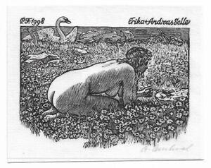 ANTONIN ODEHNAL: Neujahrsgraphik P. F. 1998  für Erika + Andreas Selle, Leda