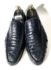 $3900 Zilli Dark-Blue Ostrich Leather Shoes Loafers Size 43, UK-9, US-10