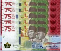 INDONESIA 75000 75,000 RUPIAH 2020 75th COMM. P NEW UNC LOT 5 PCS