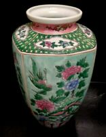 Antique Hand painted Chinese Enameled Porcelain Vase 12 X 7 Inches