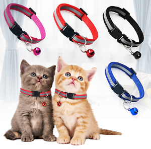 Cat Collar Reflective Adjustable Kitten Pet Puppy Small Dog Collar with Bell UK